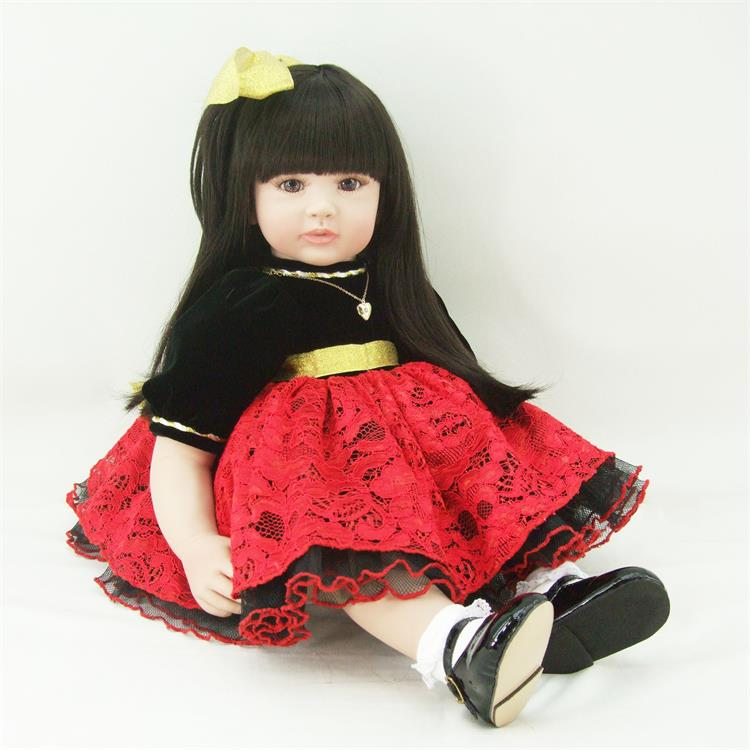 22inch Soft Vinyl Silicone Reborn Babies Doll Newborn Doll Red Lace Dress Soft Toys for Girls Christmas Exquisite Girl Gifts little cute flocking doll toys kawaii mini cats decoration toys for girls little exquisite dolls best christmas gifts for girls