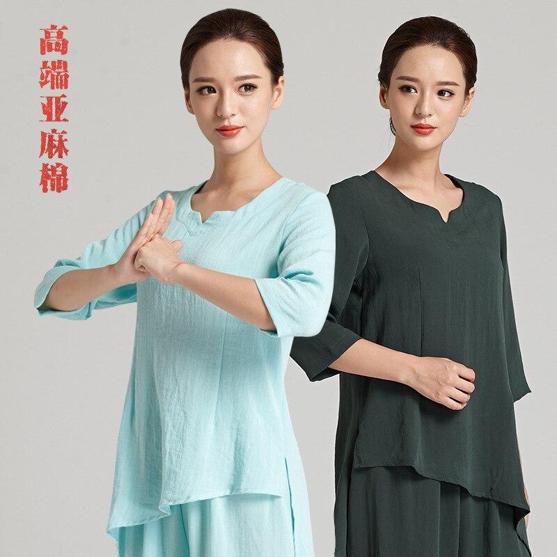 Top Grade Chinese Women Tai chi Martial Arts Clothing Summer yoga sport Clothes Wing Chu ...