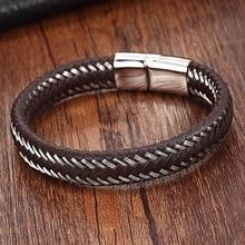 2017 Stainless Steel Chain Bracelet Men Genuine Leather Bracelets Black Color Leather Bracelet for women Rope Jewelry Vintage