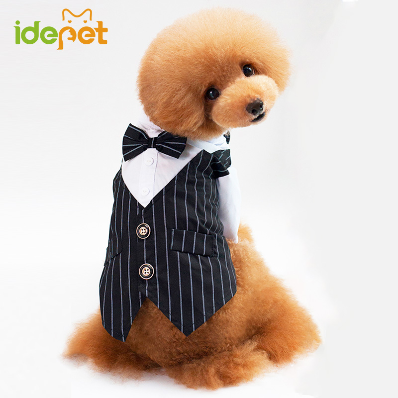 Fashion Pet Dog Coats Puppy Clothes <font><b>Tuxedo</b></font> Bow Tie Wedding Suit Dog Vest for <font><b>Teddy</b></font> Chihuahua Clothes Party Costumes 74S20