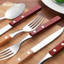 18pcs/lot Wood Handle Dinnerware Stainless Steel Party DinnerSpoon Knife Fruit Fork Cutlery Round Handle Tableware