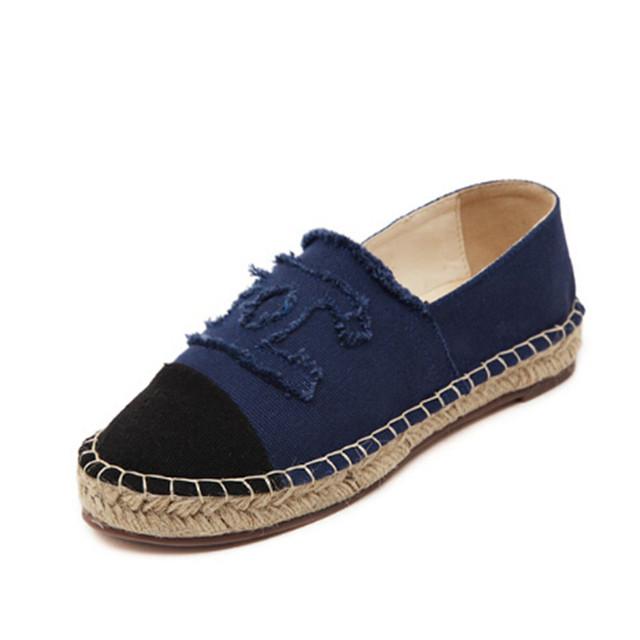 2016 calças de brim novas sapatas de lona plana sapatos casuais fundo grosso sapato palha agricultor pescador Free selos são uma das mulheres