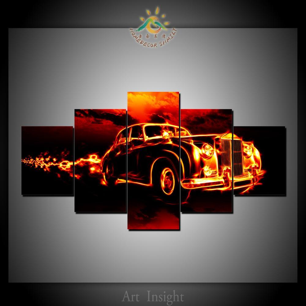 5 Панель пожарный автомобиль стены Книги по искусству Печать на холсте современной поп-Книги по искусству Плакаты и принты живописи для укр...