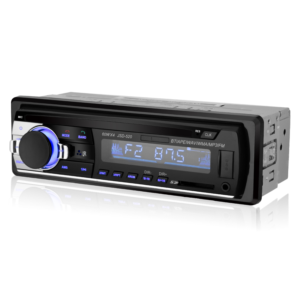 1 Din 12V Car Radio Stereo Player MP3 JSD-520 Multimedia Car Audio Player With Bluetooth Remote Control Autoradio USB TF AUX