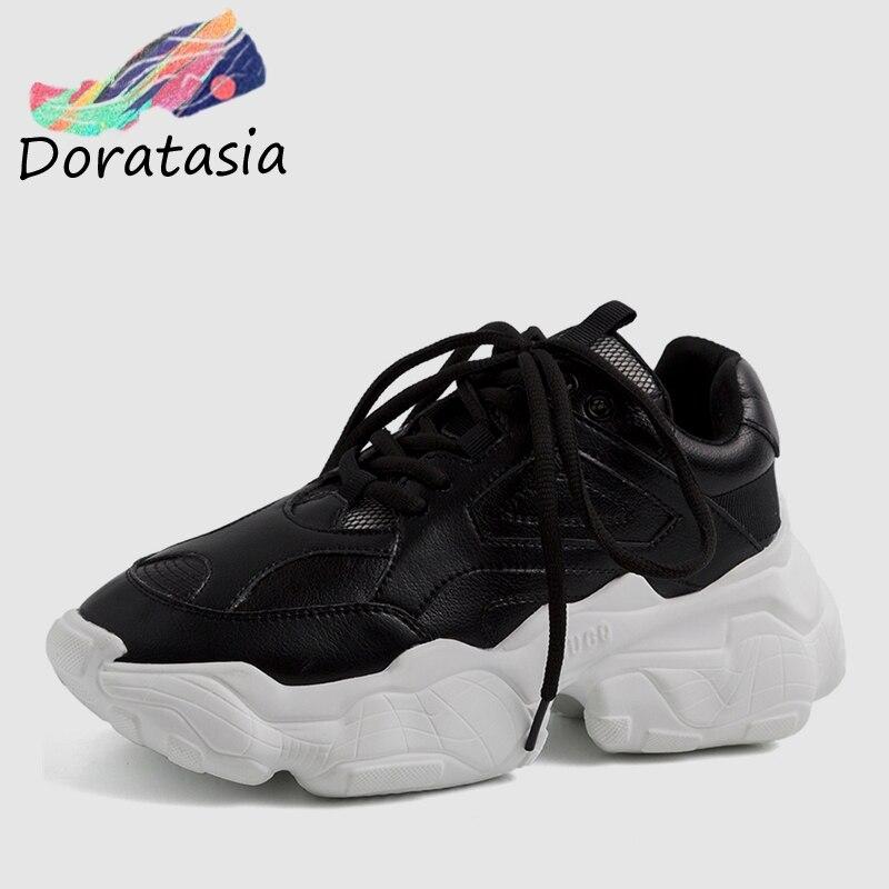 Grande Sneakers Décontractées white 2019 Chaude Plate forme Femmes Chaussures 35 Nouveau Ins Épais En Doratasia beige 42 Noir Véritable Cuir Femme Noir Taille wfqOzw