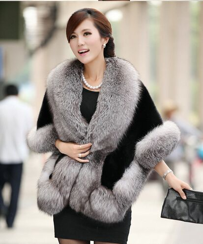 2019 Winter Leather Grass Fox Fur Mink Rabbit Fur Poncho Cape Bridal Wedding Dress Shawl Cape Women Vest Fur Coat(China)