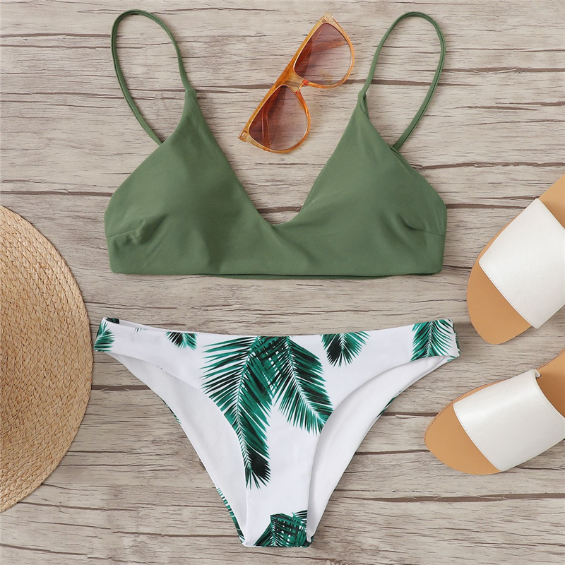 Plants Print Bottoms Bikini Set 5