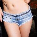 Verano de Cuentas Borla Pantalones Cortos de Mezclilla de Las Mujeres de Moda Bajo La Cintura Sexy Mini Jeans Shorts Feminino Alta Calidad Flaco Vaqueros Cortos Niñas