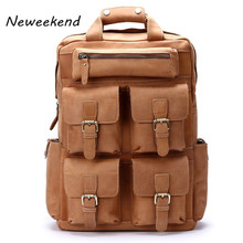 NEWEEKEND Genuine Leather Top Cow Genuine Leather Multi-Pocket Crazy Horse 15 Inch Shoulder Backpack Laptop Travel Luggage Bag