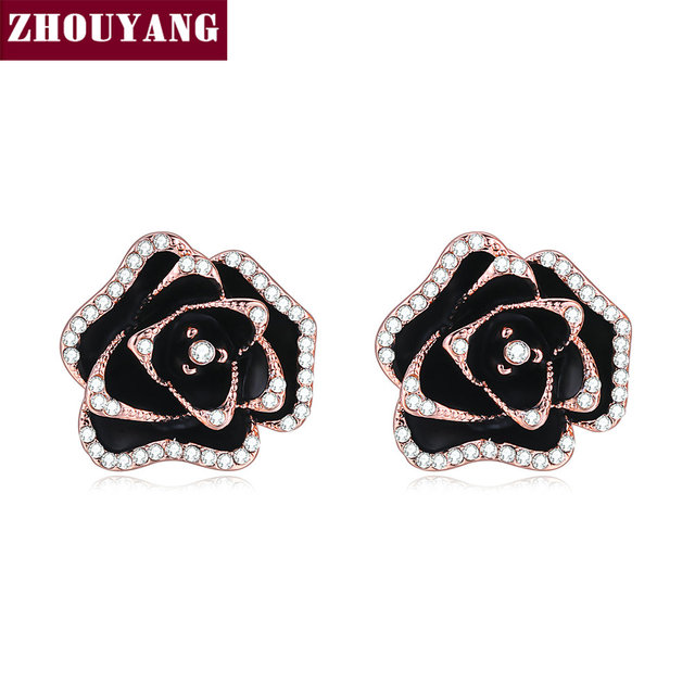 ZHOUYANG Blooming Roses Rose Gold Color Austrian crystal Stud