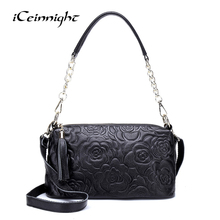 iCeinnight Genuine Leather Handbag Flowers Messenger Bag Women Shoulder Bag High Quality Female Messenger Bag Luxury Brand Bag