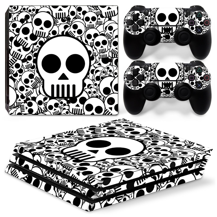 Cartoon Skull For PS4 Pro Skin Sticker For Sony Playstation 4 Pro Console and 2Pcs Controller Skins free shipping