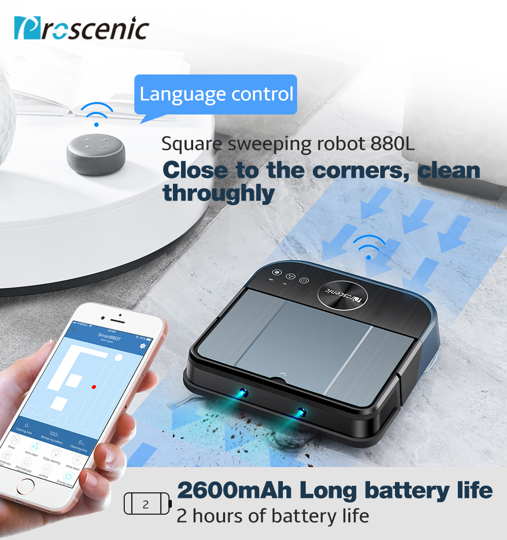 Proscenic Cocosmart 880L Conectividade Wi-fi Controle de Alexa Arrebatadora Robô Aspirador de pó Mop 2 em 1 Controle Remoto Aspirador Robótico