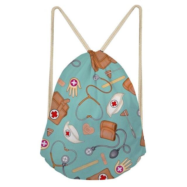 Noisydesigns Drawstring Bag for Women Cartoon Nurse Bear Pattern Cartoon School Girls Strap Bagpack Small Woman