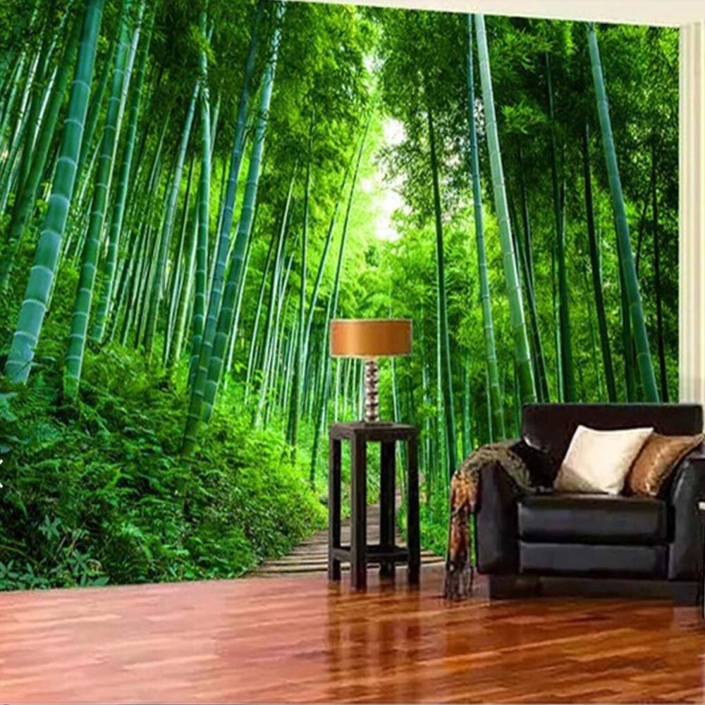 Detail Feedback Questions About 3d Bamboo Brove Mural Nature Green