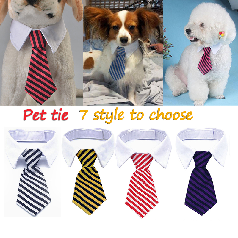 1 pcs Fashion Dog Cat Striped Bow Tie Collar Pet Adjustable Neck Tie For Party Wedding