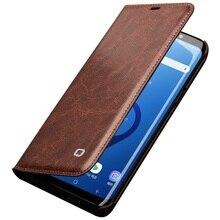 Qalino funda con tapa de cuero genuino para Samsung Galaxy S9 y S9 Plus, funda ultrafina con ranura para tarjeta para teléfono Samsung S9 y S9 Plus