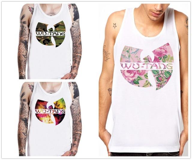WU TANG CLAN de La Flor Diseño de la Banda de Hip Hop Rap Blanco Sin Mangas de Los Hombres Tops Tee Shirt
