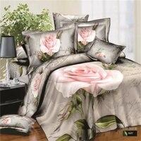 Watercolor Pink Flower 3d Rose Bedding Set Queen King Size 100% Cotton Printed Bed Linen Duvet Covers Set 4pcs