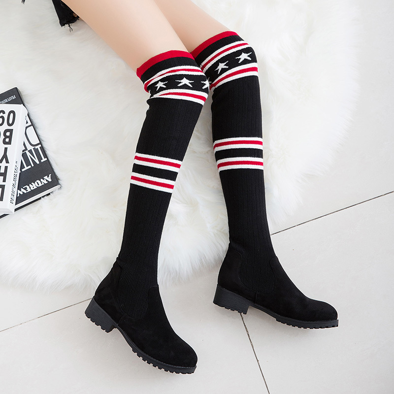 2018 New Euramerican Fashion Winter Women Boots Basic Over The Knee Low Square Heels Round Toe Casual Mixed Color Slip-on