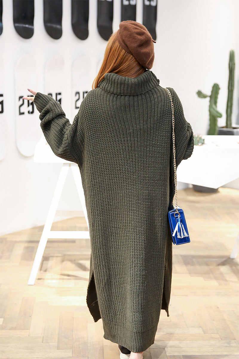 ... Plus Size Knitted Sweater Dress Winter Autumn Women Maxi Dress Knitting  Turtleneck Warm Dress Long Ladies ... dcb149ac1ed9