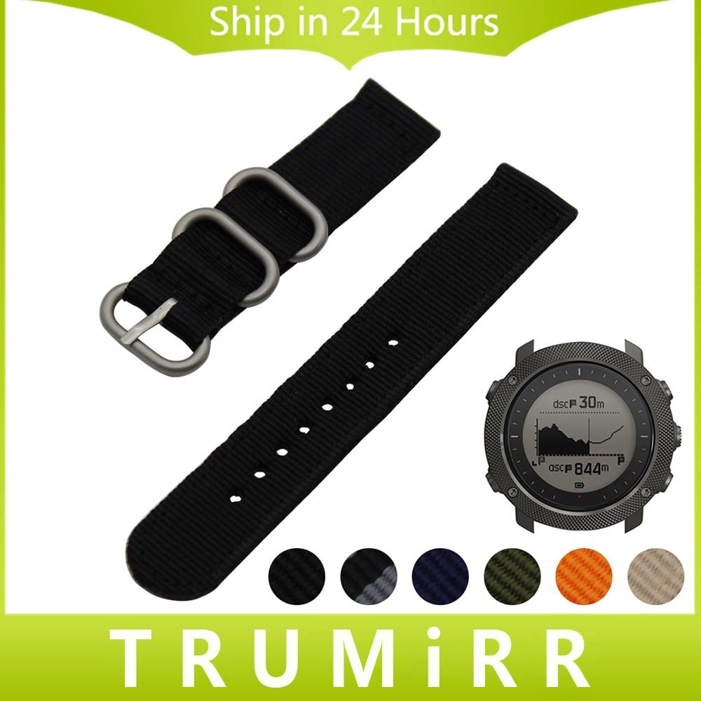 Prix pour 24mm Nylon Bracelet pour Suunto TRAVERSE Montre Bande Zulu Bracelet Tissu poignet Ceinture Bracelet Noir Bleu Brun + Outil + Printemps Bars