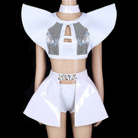 European Female Jazz hip hop Performance Costume Bar DJ Singer Stage Outfit White Flying shoulder Sparkly Sequins Dance Costumes