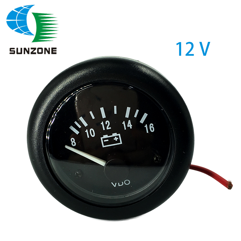 12V VDO Voltage Gauge For Generator Meter Tester Size 52mm 8-16 Volt цена