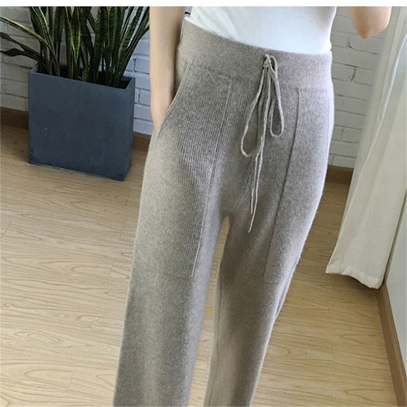 2018 autumn and winter new cashmere knit   wide     leg     pants   women casual loose wool trousers high waist wool   pants
