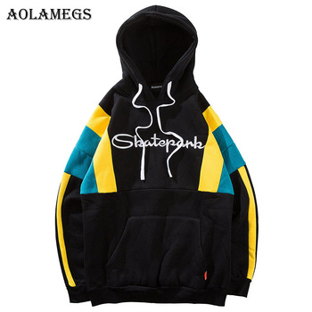Aolamegs Hoodies Men Patchwork Letter Hooded Pullover Sweatshirt Men High Street Casual Fashion Hip Hop Streetwear Hoodie Autumn hoodie