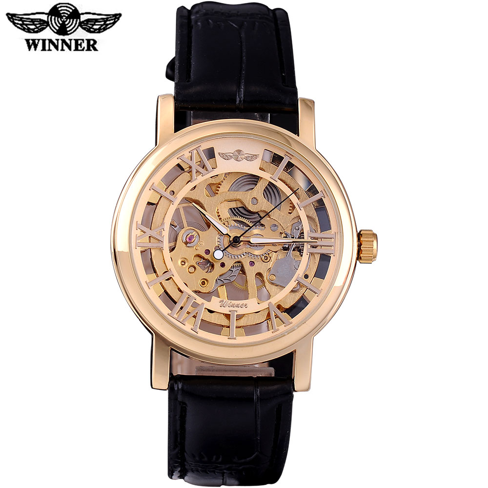 WINNER brand fashion casual men mechanical watches men's automatic skeleton gold case leather strap watches relogio masculino winner fashion men mechanical watches leather strap silver case new casual brand analog automatic wristwatches relogio masculino
