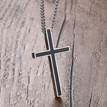 Vnox Classic Simple Cross Necklaces & Pendants Titanium Steel Black Color for Female and Male(China)