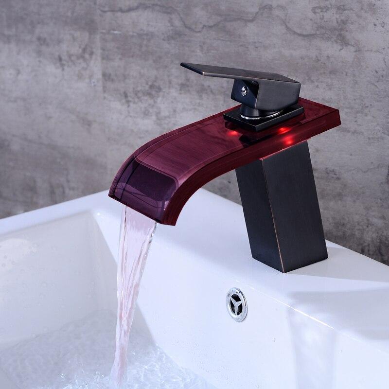 Robinet cascade salle de bain robinet à LED. Robinet de lavabo en laiton avec cascade en verre. Mitigeur de salle de bain mitigeur lavabo monté sur le pont - 3