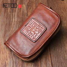 AETOO Handmade leather key case Original design multi-function top layer leather car key bag Large-capacity change zipper bag стоимость