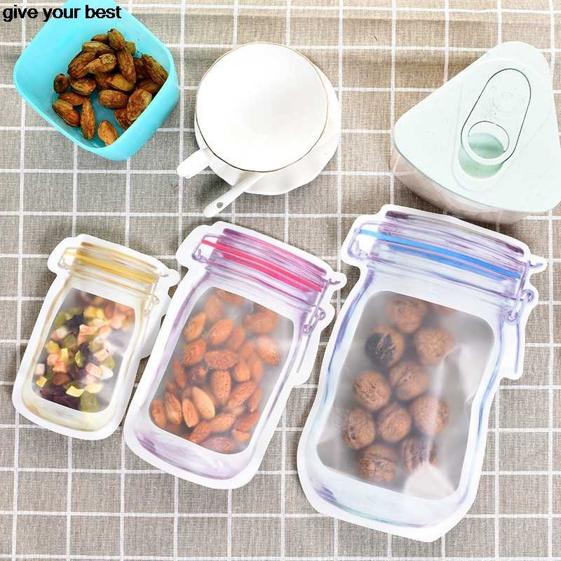 6 pieces Mason Jar Pattern Food Saver Storage Bags Set kitchen organizer Children's snacks Snacks fresh bags Food storage Bags