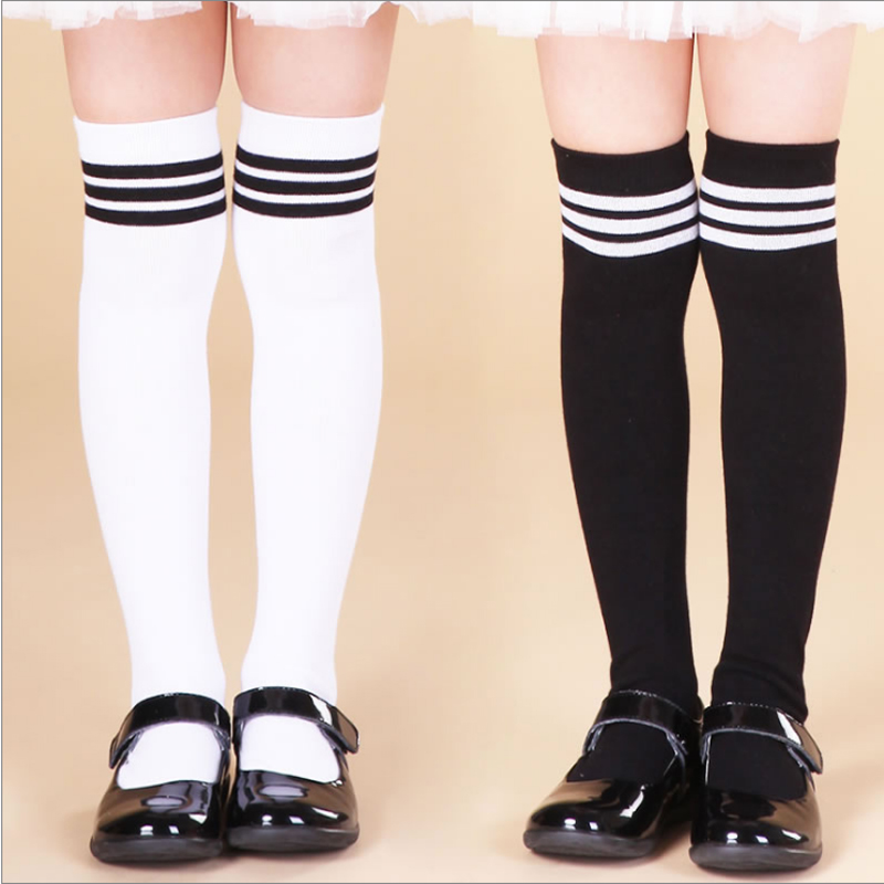 100% Cotton Child Knee-high Socks Female Child Big Boy Half Socks Striped Solid Color School Wind Leg Warmers Girl Socks 1to10 T