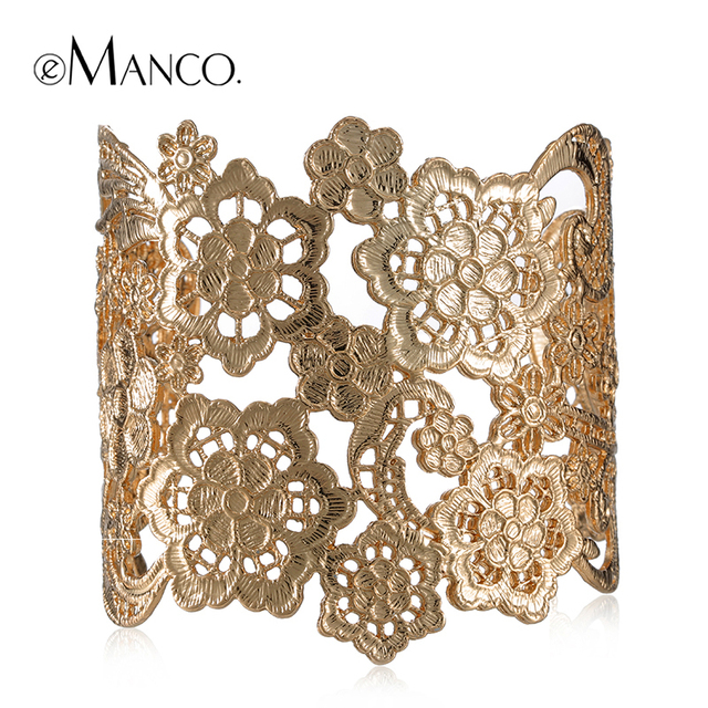 Gold bangles for women spring new arrival alloy wide bangle bracelets women vintage bangles flower bud silk series BL06109