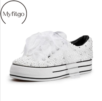 Myfitgo Custom Pearls Crystal Women Sneakers Vulcanized Shoes Special Platform Casual Shoes Wedding Bridal Shoes Lady Bling Shoe