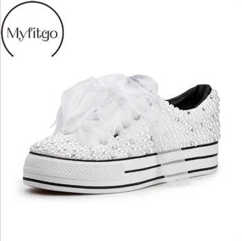 Myfitgo Custom Pearls Crystal Women Sneakers Vulcanized Shoes Special Platform Casual Shoes Wedding Bridal Shoes Lady Bling Shoe - DISCOUNT ITEM  35% OFF All Category