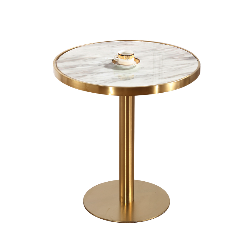 Brass Gold-plated Wire Drawing Table Marble Stainless Steel Reception Bar Table  Modern Side Coffee Tables