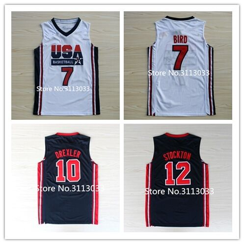 4e594e8c7 Retro  7 larry bird  11 Karl Malone  12 John Stockton  15 Magic Johnson 10  Clyde Drexler Team USA Basketball Jersey Stitched