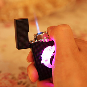 Image 2 - Colorful LED Compact Butane Jet Lighter Torch Turbo Lighter Cigarette Accessories Gas 1300 C Windproof Cigar Lighters