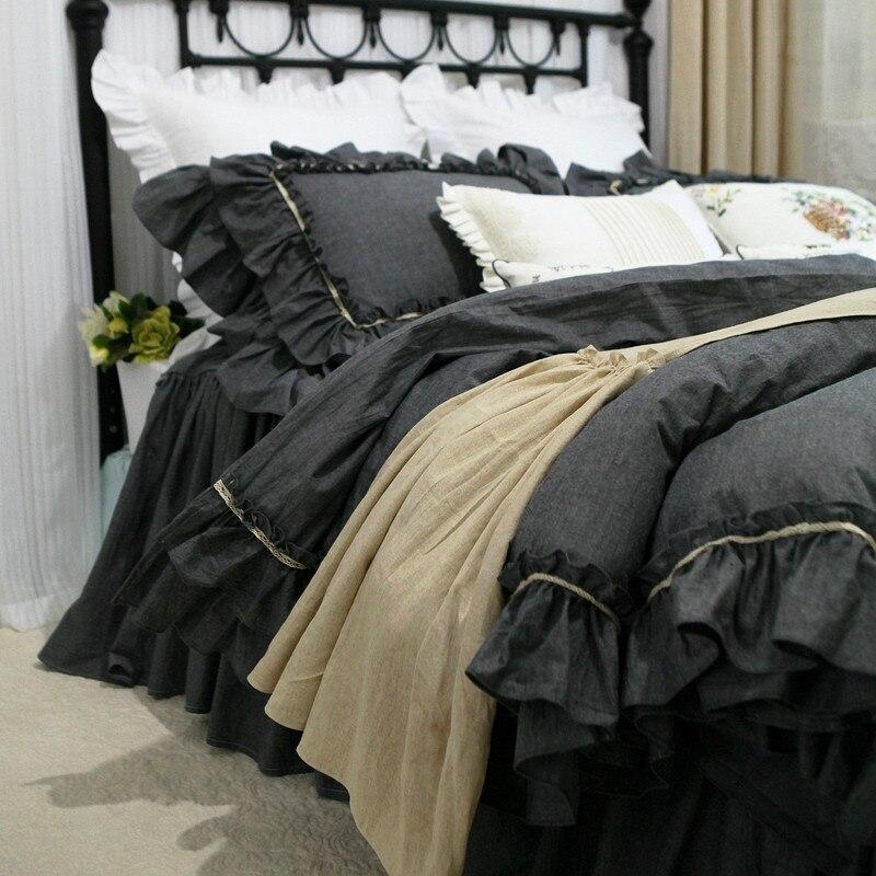 Grey double ruffle bedding set lace design bedding bed set 100 cotton queen bedding set luxury