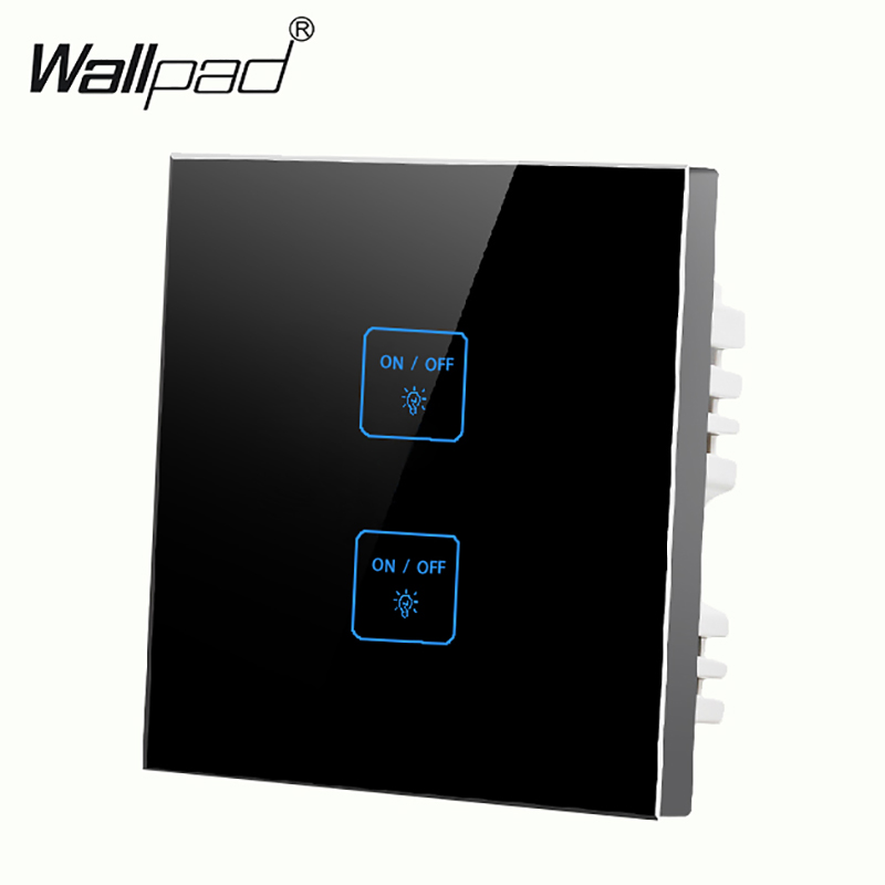 Luxury 2 gangs 2 way LED Black Glass touch light switch Free Customize Button Smart wall