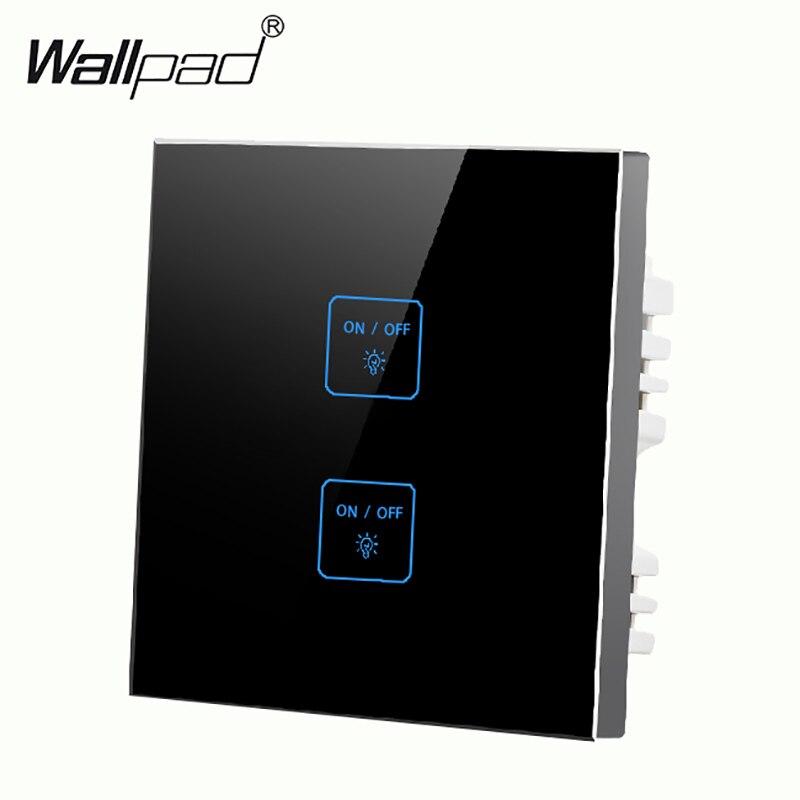 Luxe 2 gangs 2 voies LED verre noir tactile interrupteur gratuit personnaliser bouton intelligent mur tactile interrupteur livraison gratuite