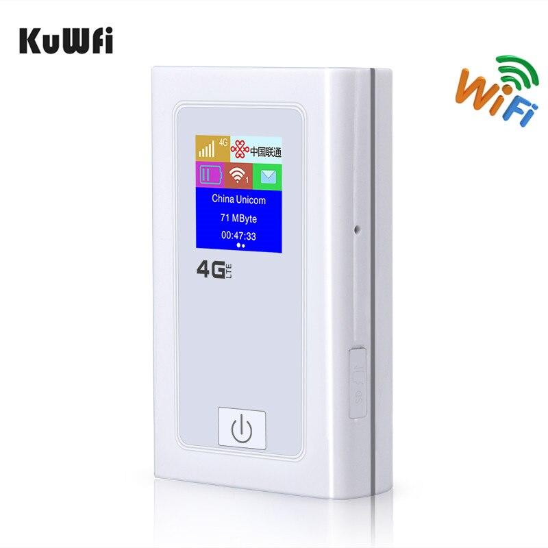 KuWFi Débloqué 4G Wifi Routeur 3G 4G Lte Sans Fil Hotspot Mifi Dongle Voiture Wi-fi Routeur Avec Sim Card Slot 5200 MAh Puissance Banque