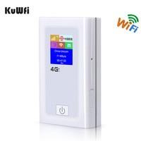 KuWFi Desbloqueado 4G Router Wifi 3G 4G Lte Mifi Hotspot Inalámbrico Dongle Wi-fi Router Con Ranura Para Tarjeta Sim Del Coche 5200 MAh Banco de Potencia