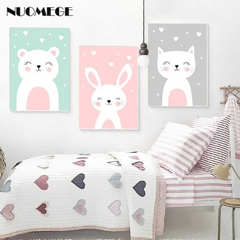 NUOMEGE Nursery Wall Art Prints Cartoon Animals Canvas Painting Wall Picture Nordic Baby Girl Bedroom Decoration Poster Art