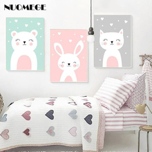 NUOMEGE Nursery Wall Art Prints Cartoon Animals Canvas Painting Picture Nordic Baby Girl Bedroom Decoration Poster