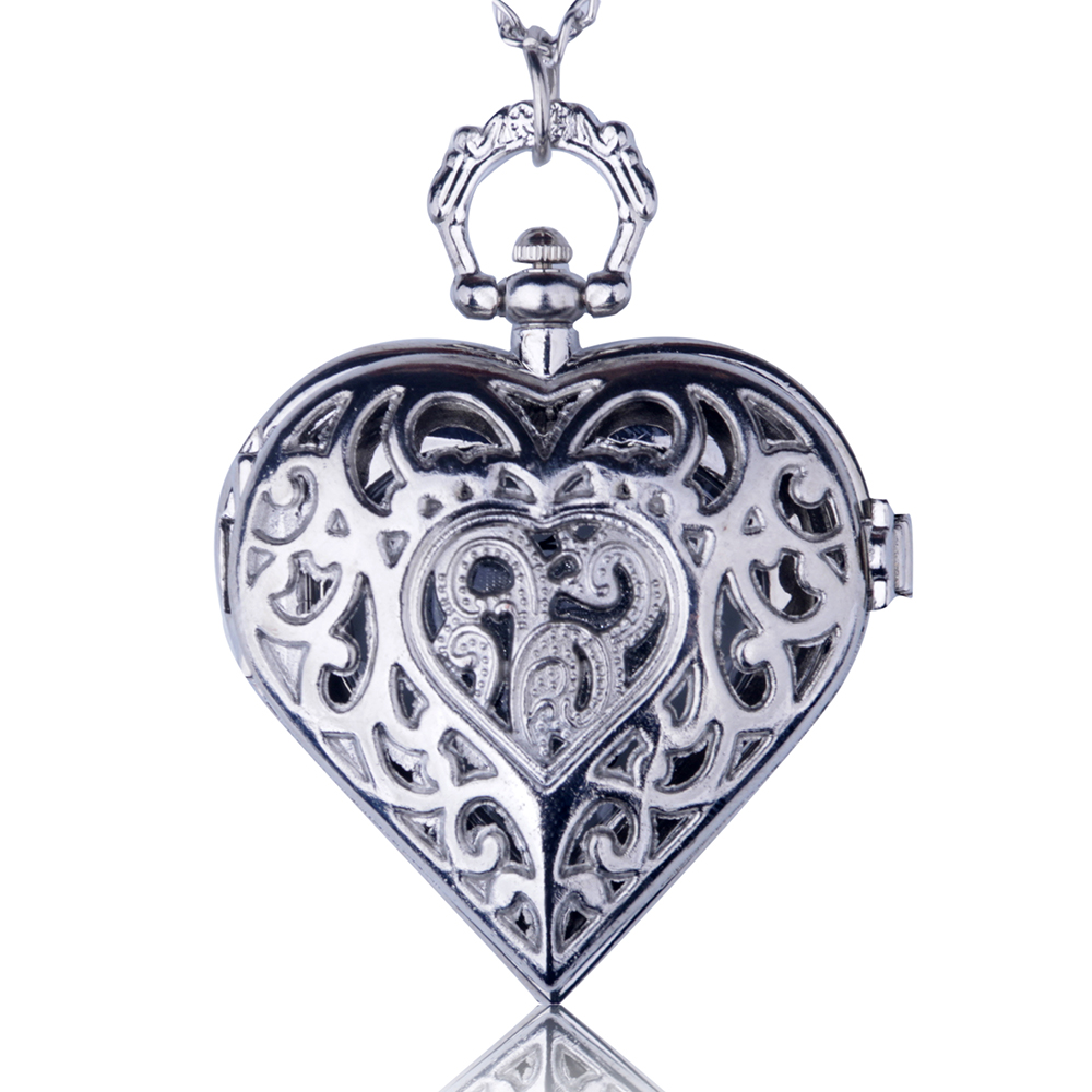 Fashion Silver Bronze Hollow Quartz Heart-shaped Pocket Watch Necklace Pendant Women Ladies Jewelry Gift burei fashion dual heart shaped women quartz watch